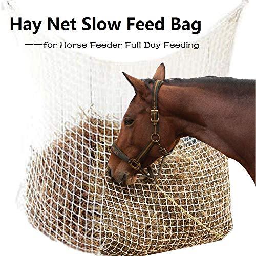 CviAn-New Bolsa de Red de heno de alimentación Lenta Bolsa de alimentación Grande para alimentación de Caballos de día Completo con Agujeros pequeños