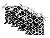 Unity Chair Pads - Cotton Canvas - Value 4 Pack - Fits 15' Chair - Moroccan Trellis Pattern - Classic Design (Black)
