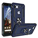 Google Pixel 3A Case, Pixel 3A Phone Case with HD Screen Protector, Gritup 360 Degree Rotating Metal Ring Holder Kickstand Armor Anti-Scratch Bracket Cover Case for Google Pixel 3A 2019 Blue