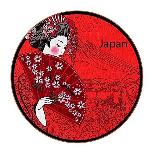 Pelle Sottobicchieri donna giapponese Coasters Set di 6 Antiscivolo Tappetino per Tazza Design Coasters Tazza Stuoia Tovagliette per Vino Bicchieri Tazze 11x11 cm