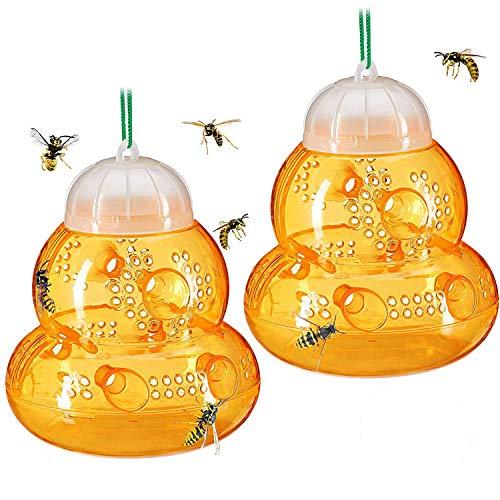 VAGAVDirect 2stk Wespenfalle, Groß Φ13*14cm Wespen Lebendfalle, ohne Lockstoff, zum Aufhängen&Hinstellen, Abnehmbar&Wiederverwendbar Wespenfänger - Honigfarbe