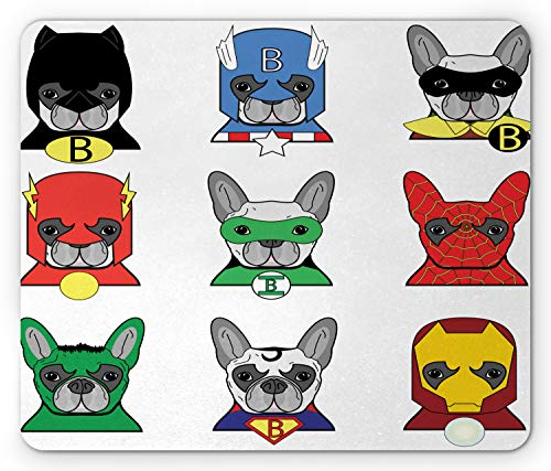 Ambesonne Superhero Mouse Pad, Bulldog Superheroes Fun Cartoon Puppies in Disguise Costume Dogs with Print, Rectangle Non-Slip Rubber Mousepad, Standard Size, White Green