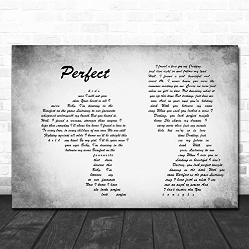 DatCee #Ed #Sheeran #Perfect Man Lady Couple Grey Song Lyric Quote Print Poster Wall Art Home Decor Gifts for Lovers Painting