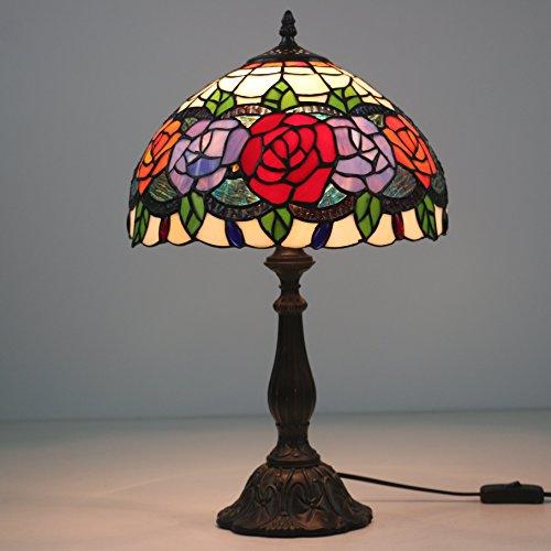 'Rosas Rojas antigüedad 12Tiffany lámpara