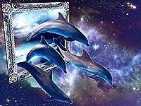 ダイヤモンドドルフィンダイヤモンド刺繍動物の画像ラインストーンダイヤモンドモザイクホームデコレーション絵画 SSHZJUS (Color : 7, Size : Square 40x50cm)