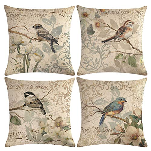 """ULOVE LOVE YOURSELF 4pack Vintage Bird Pillow Covers Birds Singing On The Branch with Musical Note& Inspirational Words Home Decorative Pillowcases Retro Cushion Covers 18""""×18""""(Birds Singing)"""