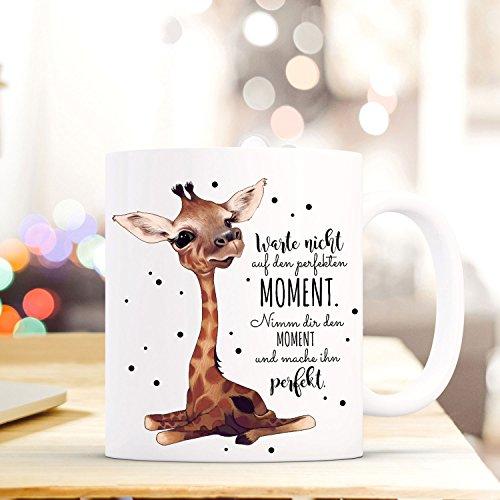 ilka parey wandtattoo-welt Tasse Becher mit Giraffe & Spruch Perfekter Moment Kaffeebecher Geschenk Motto Spruchbecher ts619
