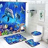 SMNVCKJ Cortina de ducha con diseño de mundo submarino, 180 x 200, 180 x 180, alfombra de baño, 4 piezas, resistente al agua, accesorios para muebles con ganchos (200 x 240 cm)