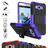 Galaxy J7 2016 Case,Mama Mouth Shockproof Heavy Duty Combo Hybrid Rugged Dual Layer Grip Cover with Kickstand for Samsung Galaxy J7 J710 2016 Smartphone(with 4 in 1 Packaged),Purple