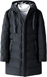 Men's Long Windproof Mid-Length Pure Color Thickened Quilted Winter Hooded Puffer Jacket Warm Snow Coat Mountain Jacket