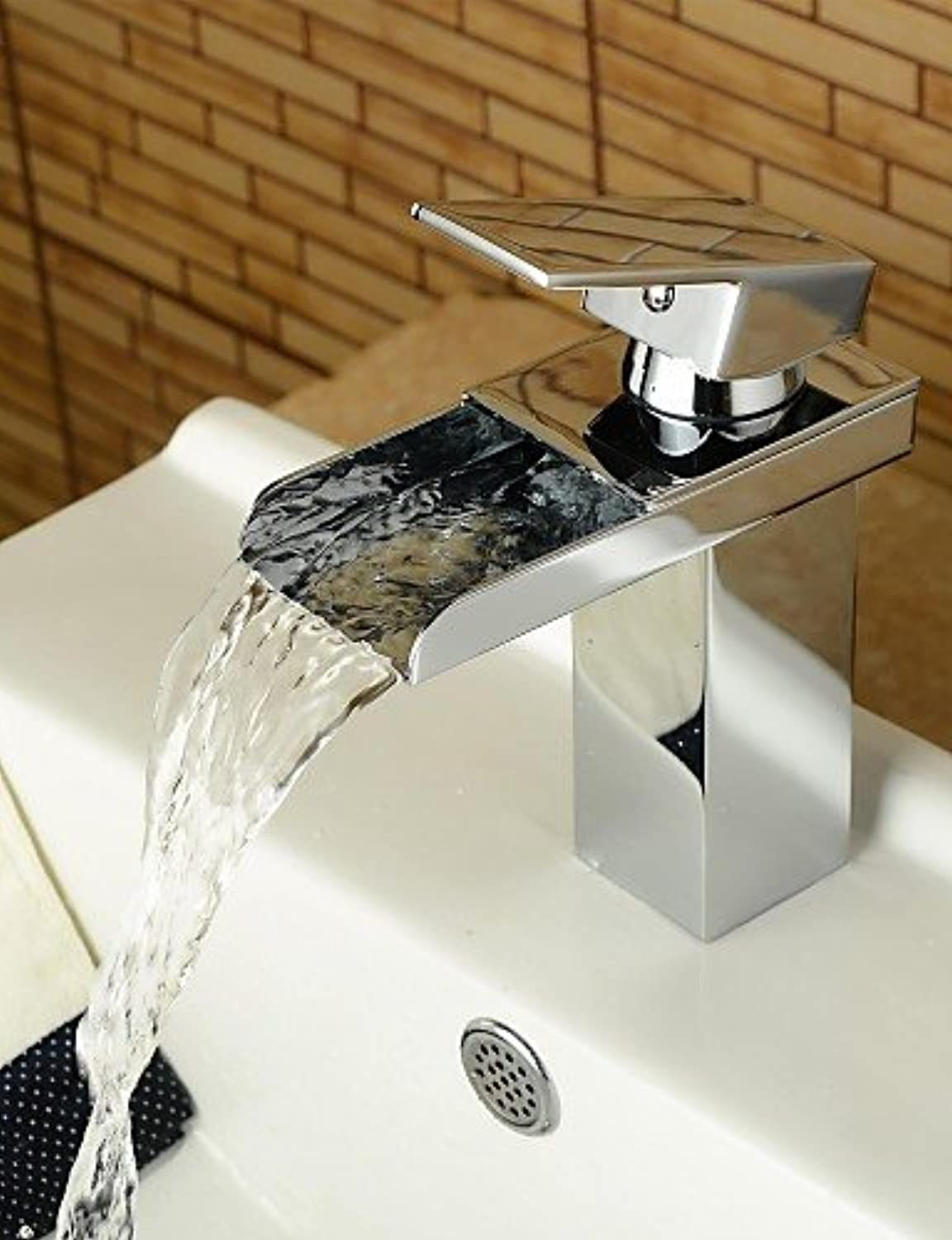 HJKDGH Faucet Modern Style Chrome Single Handle Single Hole Hot and Cold Water Bathroom Sink Faucet , silver
