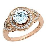 14K Rose Oro 7,5mm redondo aguamarina, champán y blanco diamante Halo Bridal Compromiso Anillo (tamaño 7)