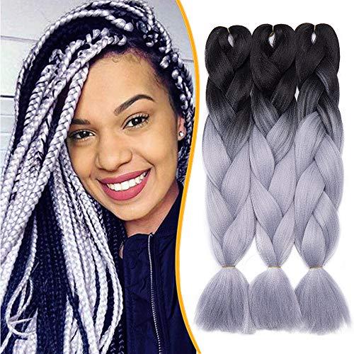 24'(60cm) Extensiones de Pelo Sintético para Hacer Trenzas Africanas Cabello Se Ve Natural Braiding Twist Crochet Hair 3 PCS #Negro-Gris (60cm,300g)