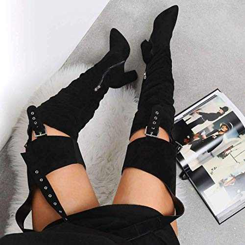 DETOGNI-Womens-Fashion-Thigh-High-BootsChunky-Heel-Belted-Thigh-High-Sexy-Belted-Suspender-Boots-Winter-Over-Knee-Fashion-Heeled-Boots-Faux-SuedeSolid-Pointed-ToeBlack-Heeled-Boots