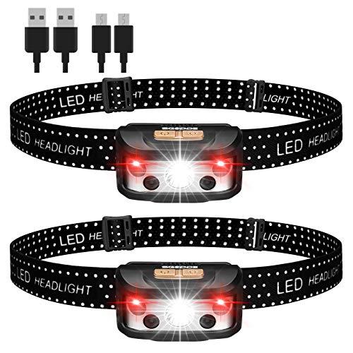 SGODDE Stirnlampe,Stirnlampe LED wiederaufladbar,Pack of 2 Lightweight Headlamp,Superheller USB IPX65 Wasserdicht Sensor Kopflampe,Rotlicht Headlights für Joggen, Laufen, Campen,Wandern,Angeln