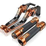 Manillar de Moto Modificado para KY&MCO para Dow&nTo&wn 125200300350 Accesorios de Motocicleta CNC Palanca de Embrague de Freno Ajustable y Extremos de Agarre del Manillar (Color : Naranja)