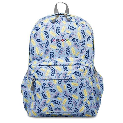 J World New York Oz School Backpack for Kids & Adults. Boys & Girls Bookbag, SKY LEAVES, One Size