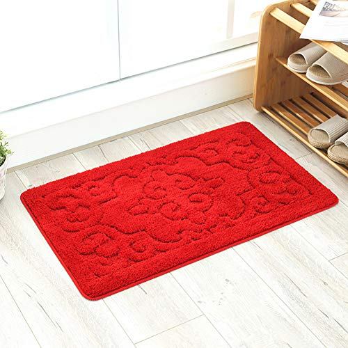 ZZXXBB Doormat for Indoor Outdoor Entrance, Premium Fashion Durable Rectangle Waterproof Non Slip Rug for Kitchen,Living Room,Bedroom,Patio,Porch,Garage-red 40x60cm(16x24inch)