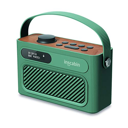 Inscabin M60 Radio numérique Portable Dab/Dab + FM/Haut-Parleur sans Fil Portable avec Bluetooth/Son stéréo/Deux Haut-parleurs/Double réveil/Subwoofer/Batterie Rechargeable/Beau Design (Green)
