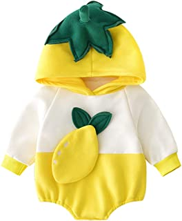 Xifamniy Infant Unisex Baby Autumn Thicken Romper Fruit Pttern Stitching Hooded Jumpsuit