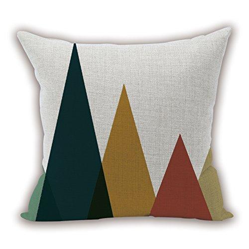 Nunubee Housse Coussin Coussin Decoration canapé Deco canapé scandinave Deco, Trois Triangles Rouges Verts Jaunes 45x45CM