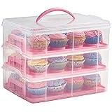 VonShef Kuchenbox 3-stöckige Aufbewahrungs- und Transportbox für Cupcakes & Torten – Kuchentransportbehälter für bis zu 36 Cupcakes oder 3 große Torten – Rosa