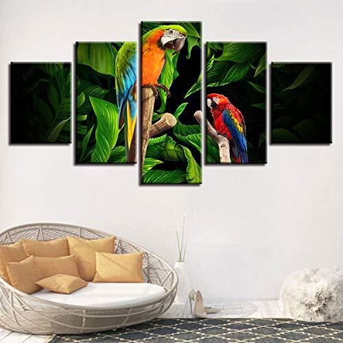 wjdymx canvasdruk canvas Hd afdrukken foto's wooncultuur 5 stuks papegaai takken hout schilderij woonkamer modulaire poster muurkunst