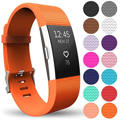 Yousave Accessories Fitbit Charge2 Cinturino, Sostituzione Braccialetto Sportivo in Silicone per Il Fitbit Charge 2 - Grande - Arancione