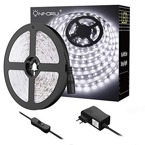 Onforu LED Luces de Tiras, Tira de LED 5M, Blanco Frío 6000K con 300 LEDs, Cadena de Luz LED Flexible, Incluido 12V Adaptador con Interruptor, para Interior Decoración Habitación Armario Gabinete