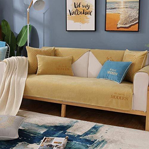 JXJ Calidad Chenilla Bordado Alfabeto cojín de sofá nórdico Simple Antideslizante sofá seccional Cubre apoyabrazos Respaldo Protector de Muebles, Amarillo, 110 * 160