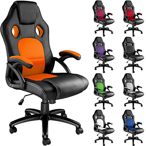 TecTake Sportsitz Chefsessel Stuhl Bürostuhl Racing Schalensitz - Diverse Farben - (Schwarz-Orange | Nr. 403469)