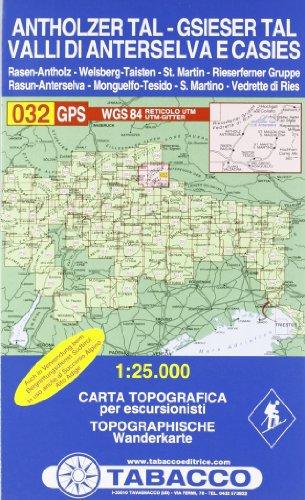 Antholzertal, Gsiesertal: Wanderkarte Tabacco 032. 1:25000 (CARTES TOPOGRAHIQ - 1/25.000)