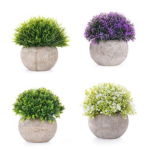 EKKONG Künstliche Blumen Bonsai Kunstpflanze mit grauen Topf Mini Kunststoff Fälschung Grünes Gras, für Hochzeit/Büro/Zuhause Dekoration (4 pcs)