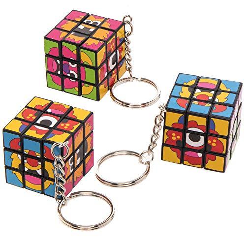 Baker Ross AX268 Monster Bunch Puzzlewürfel Schlüsselringe - 4 Stück, Lustiges Spielzeug für Kinder zur Winterzeit perfekte Party, Beute, Preis oder Korbfüller