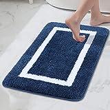 Homaxy Badezimmerteppich Badematte rutschfest Waschbar Badteppich Weiche Mikrofaser Hochflor Badvorleger – 60 x 90 cm, Marine Blau