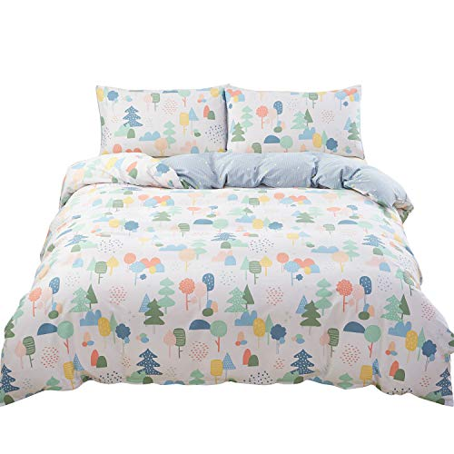 SAIWER Jungle Tree Pattern Kids Duvet Cover and Pillow Shams Bedding Set 100% Cotton with Corner Ties and Zipper (3pcs,Twin Size)