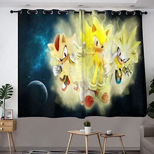 Hinyast Sonic The Hedgehog Ride Cortinas abstractas para dormitorio infantil, cortinas de eficiencia energética, cortina impermeable para ventana, 72 x 63 cm