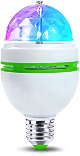 LED Rotating Disco Light Bulb E27 3W Auto Rotating RGB Disco Ball Lamps Rotating Light Party Lights, Strobe Light, 3W LED Bulb for Stage Xmas DJ Bar Karaoke Xmas Wedding Show Club Pub