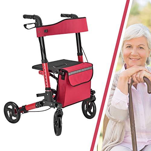 Juskys Aluminium Rollator Vital faltbar & leicht | 6-fach höhenverstellbar | Leichtgewichtrollator mit Sitz, Bremse und Tasche | 130 kg | rot