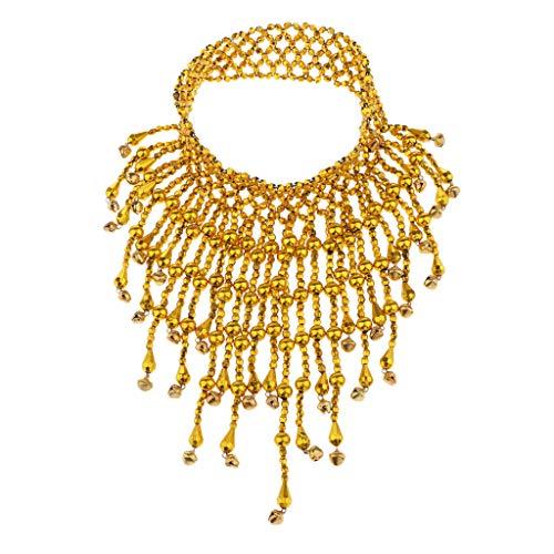 joyMerit Dancing Girl Danza Del Vientre Rendimiento Collar de Abalorios Joyería India Elástica - dorado, talla única