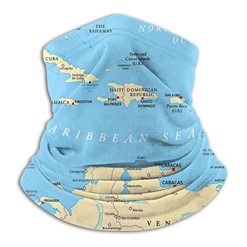 Baoziya Caribbean Political Map Capitals National Borders Important Cities Rivers Lakes Trendy Mikrofaser-Halswärmer Black Komfortable Atmungsaktive Bewegung Warm Halten