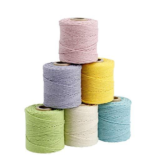 Lieblingsgarn - Multipack Pastell - 6 x Premium Garn aus Baumwolle 1 mm x 65 m für Makramee und Basteln