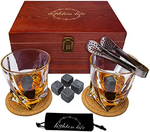 Lighten Life Whiskey Stones Gift Sets 10oz Twisted Whiskey Glass Set 2 with 8 Chilling Rocks product image