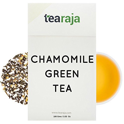 Tea Raja Chamomile Green Tea (100 Gm) Relaxing, Sleep Inducing, Aids Weight Loss, Organic Chamomile, Herbal Tea, Sleep Inducing Tea