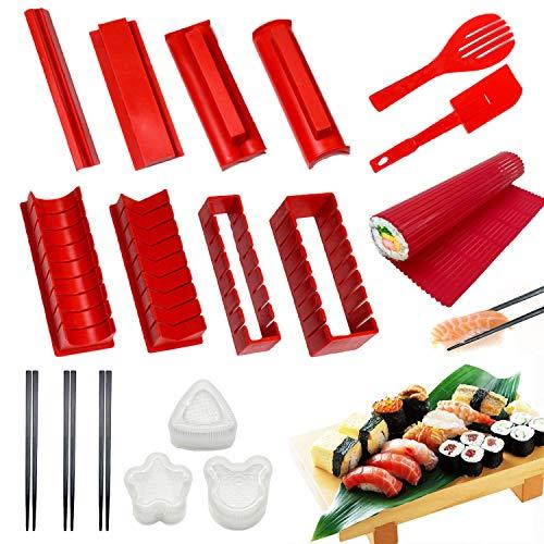 Sushi Making Kit for Beginners15 Pcs Plastic Sushi Maker Tool Including 8 Sushi Mold Shapes Fork Spatula1 Sushi Rolling Mat 3 Shape Sushi Press Mold 3 Chopsticks DIY Sushi Making Kits Red