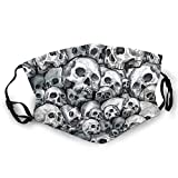 Luase Face Covering Mask,Skull Pattern Bandana Scarf Reusable Washable Fabric Breathable Adjustable Earloop for Public Use