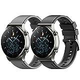 Keweni Correa Compatible con Huawei Watch GT2 Pro, Pulsera de Repuesto de Ajuste Rápido de Silicona de 22 mm para Honor Watch Magic / Honor GS Pro / Huawei GT2 46mm (Negro+Gris)
