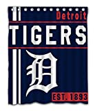 Detroit Baseball Team Emblem Waterproof Shower Curtain Blue Design Polyester for Bathroom Decoration 60 x 72 Inches with 12-Pack Plastic Hooks