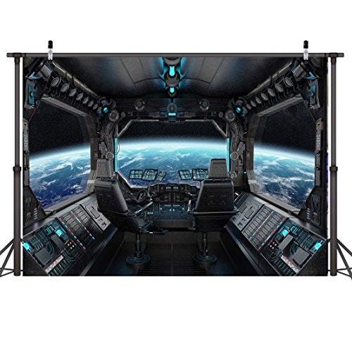 LYWYGG 8x6ft Vinyl Spaceship Interior Background Futuristic Science Fiction Photography Backdrops Spacecraft Cabin Photo Shoot Studio Props Astronomy Universe Galaxy Outer Space Station CP370806