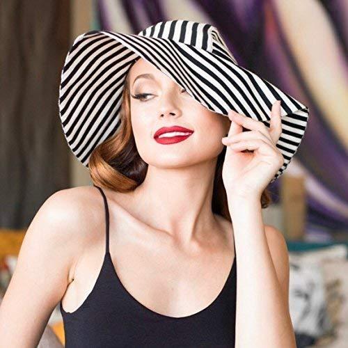 Striped Black Max 65% OFF White Sun Gorgeous Hat